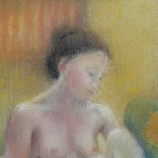 The Red Towel by Janet Treby, Figurative | Nude
