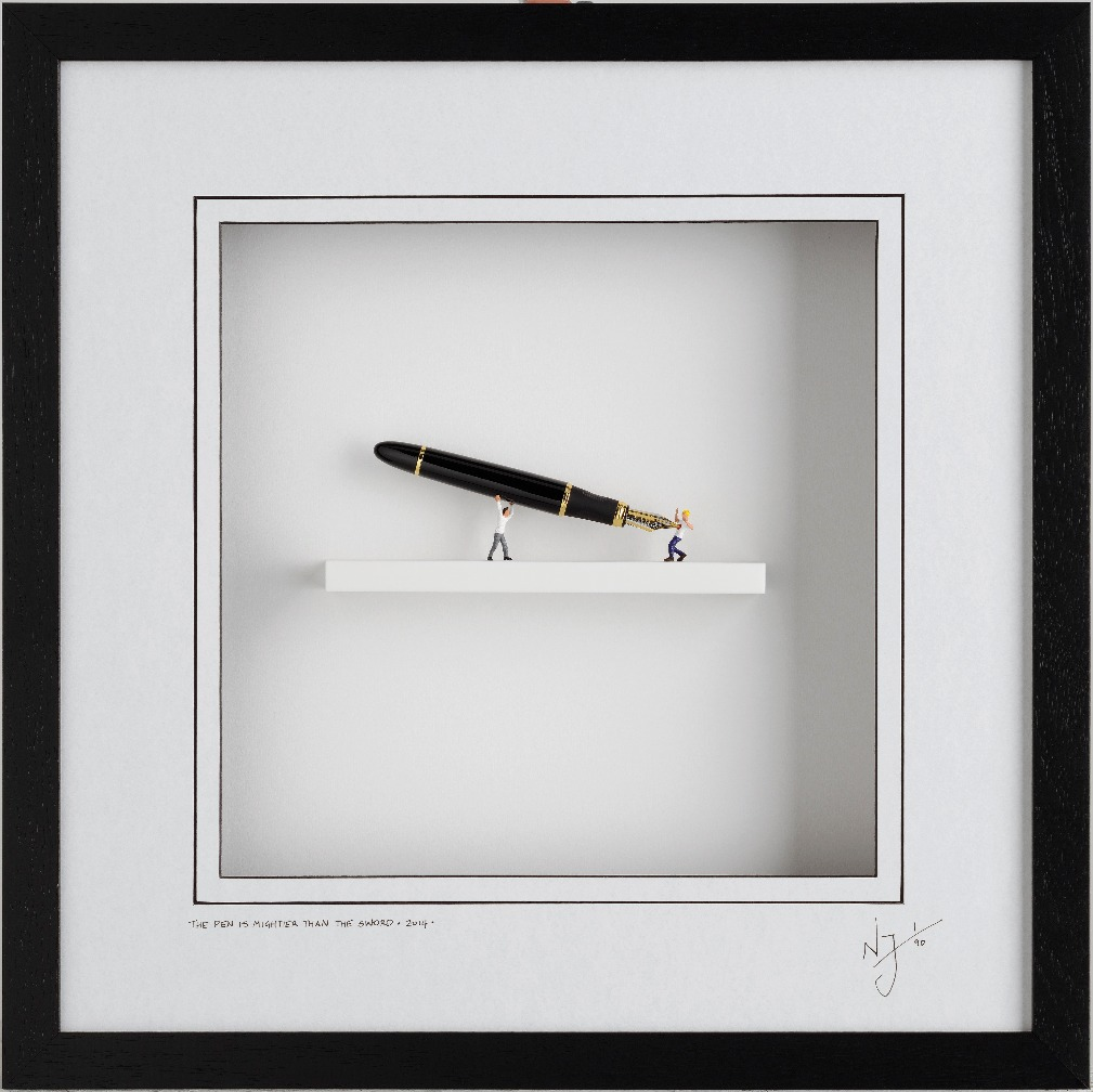 The Pen is Mightier than the Sword by Nic Joly, Humour | Sculpture | 3D