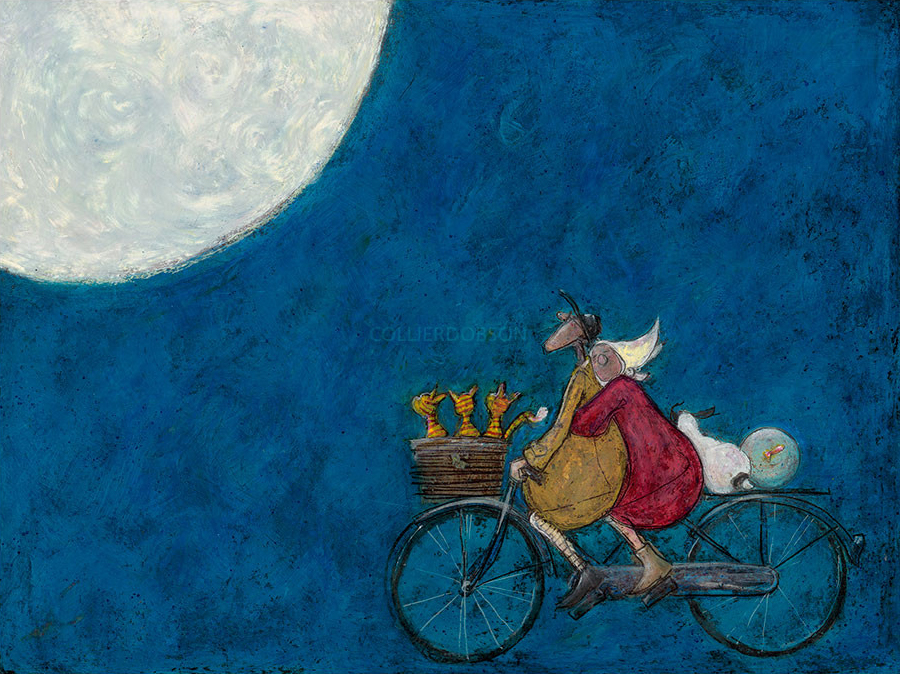 Moonlight Drive by Sam Toft, Love | Couple | Romance | Bicycle | Dog