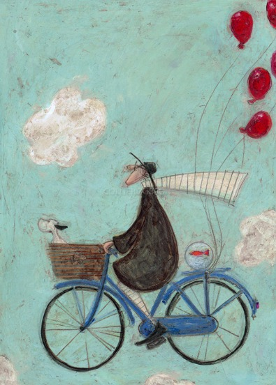 Imagination can take you Anywhere by Sam Toft, Dog | Bicycle | Nostalgic