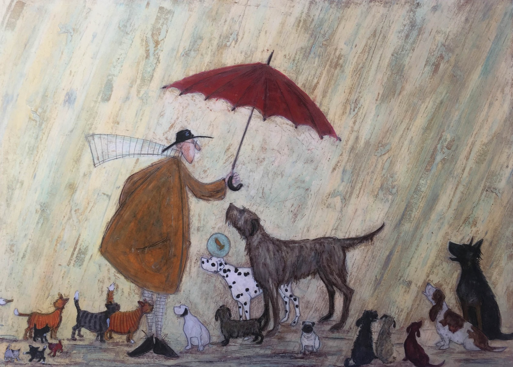 Cats and Dogs (Remarque) by Sam Toft, Cat | Dog | Water | Figurative | Animals