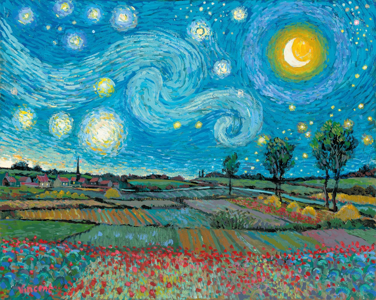 Starry Night with New Day Dawning by John Myatt