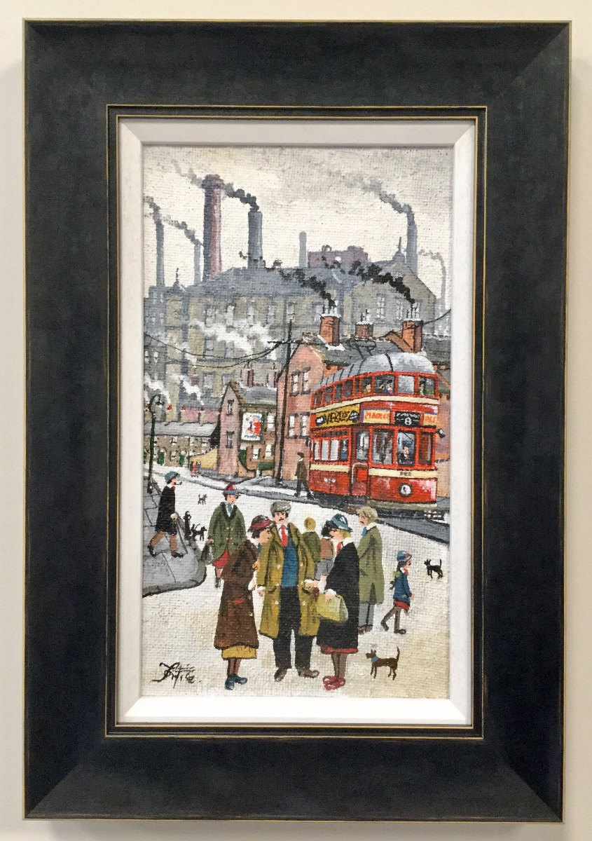 Northern Tram Scene by Allen Tortice, Northern | Transport | Nostalgic | Lowry