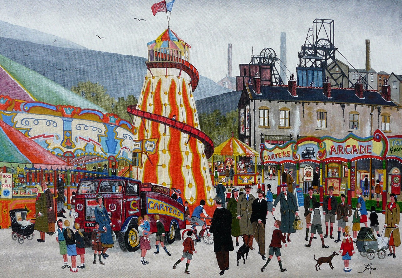 The Village Fair by Allen Tortice, Industrial | Landscape | Northern | Nostalgic | Lowry | Local