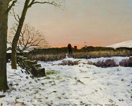 Watching The Sun Rise In The Pennines by Peter Brook, Figurative | Naive | Northern | Nostalgic | Snow