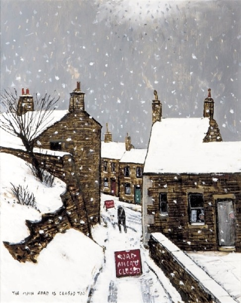 The Main Road Is Closed by Peter Brook, Figurative | Snow | Naive | Northern | Nostalgic