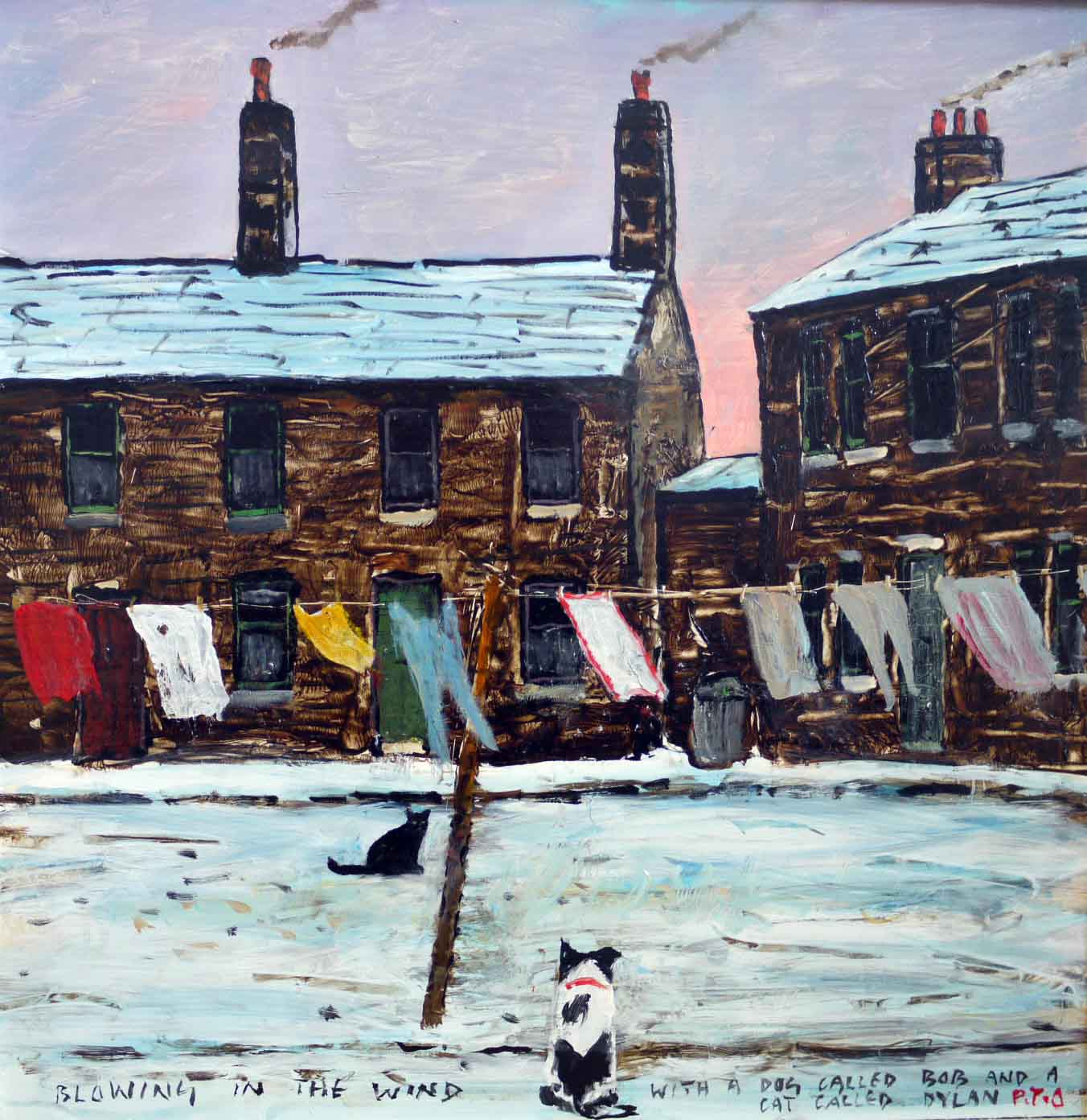 Blowing In The Wind by Peter Brook, Figurative | Naive | Northern | Nostalgic | Snow | Dog | Cat