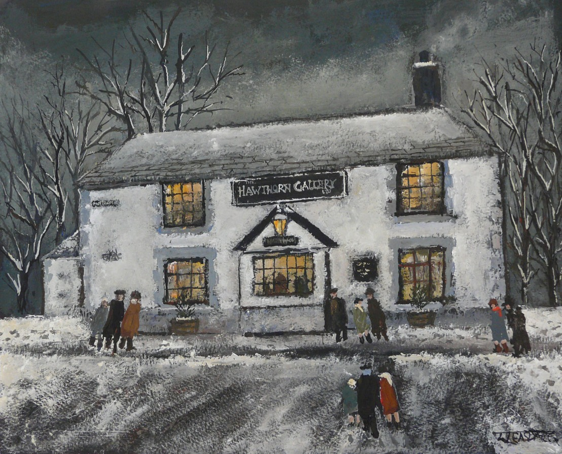 The Hawthorn Gallery by Malcolm Teasdale, Northern | Nostalgic | Snow | Pub