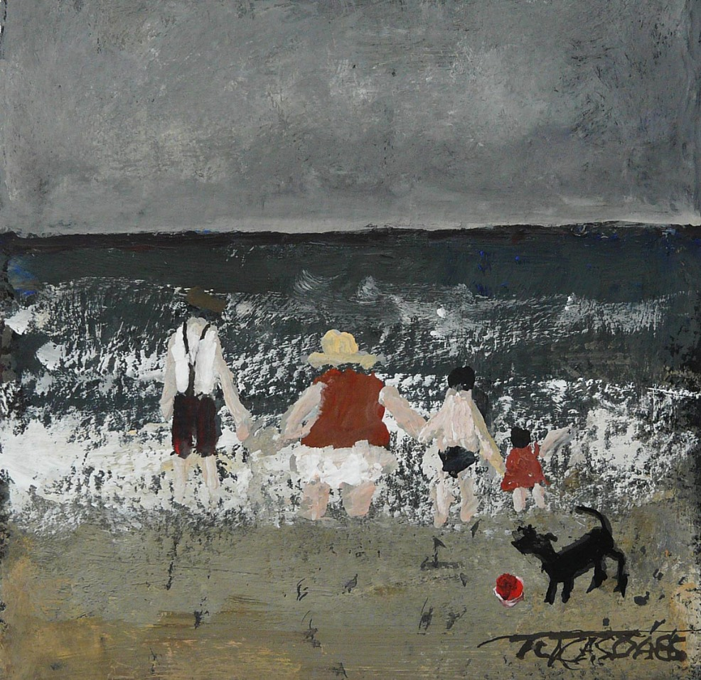 Family Dip by Malcolm Teasdale, Northern | Nostalgic | Family | Children | Sea