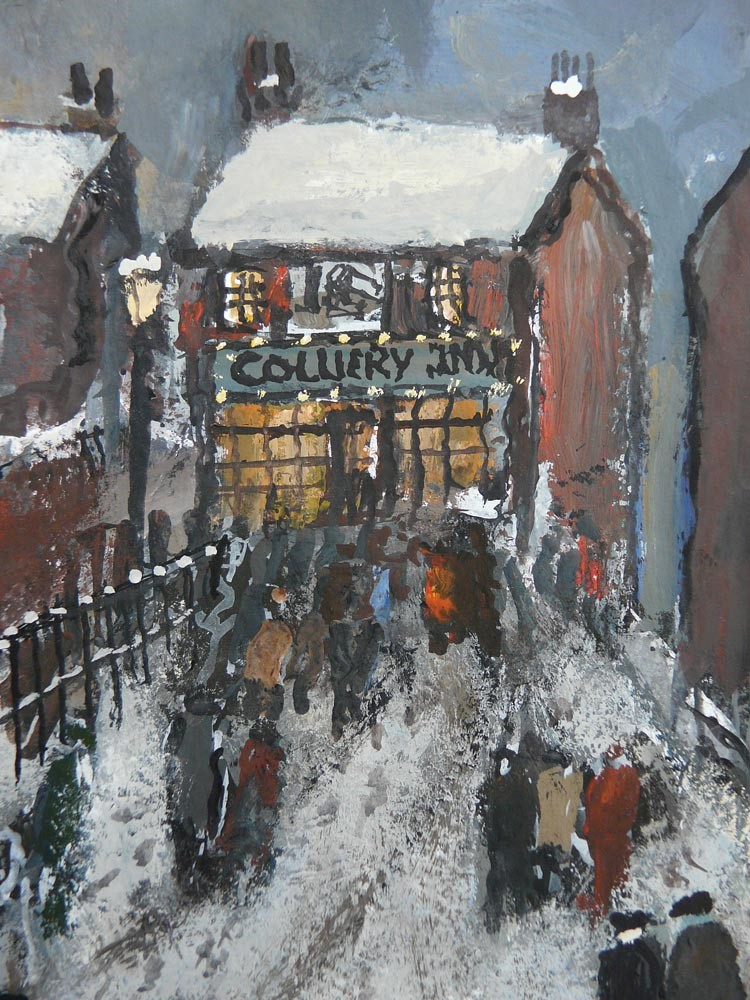 Welcome Lights by Malcolm Teasdale, Snow | Pub | Mining | Northern | Nostalgic