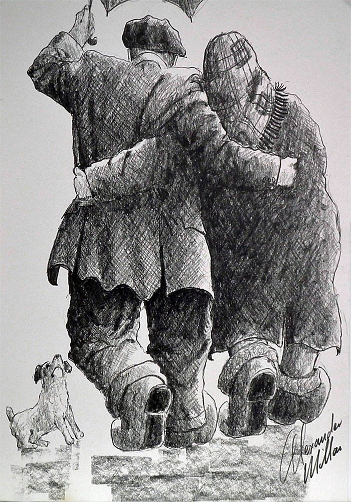 Lovely Jubbly by Alexander Millar, Northern | Nostalgic | Couple | Romance | Love | Dog | Gadgie