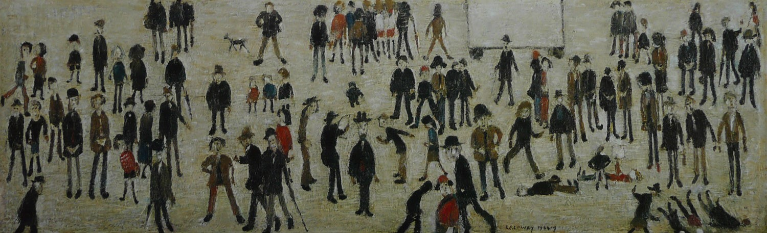 Crowd around a Cricket Sight Board by LS Lowry, Northern | Nostalgic | Lowry