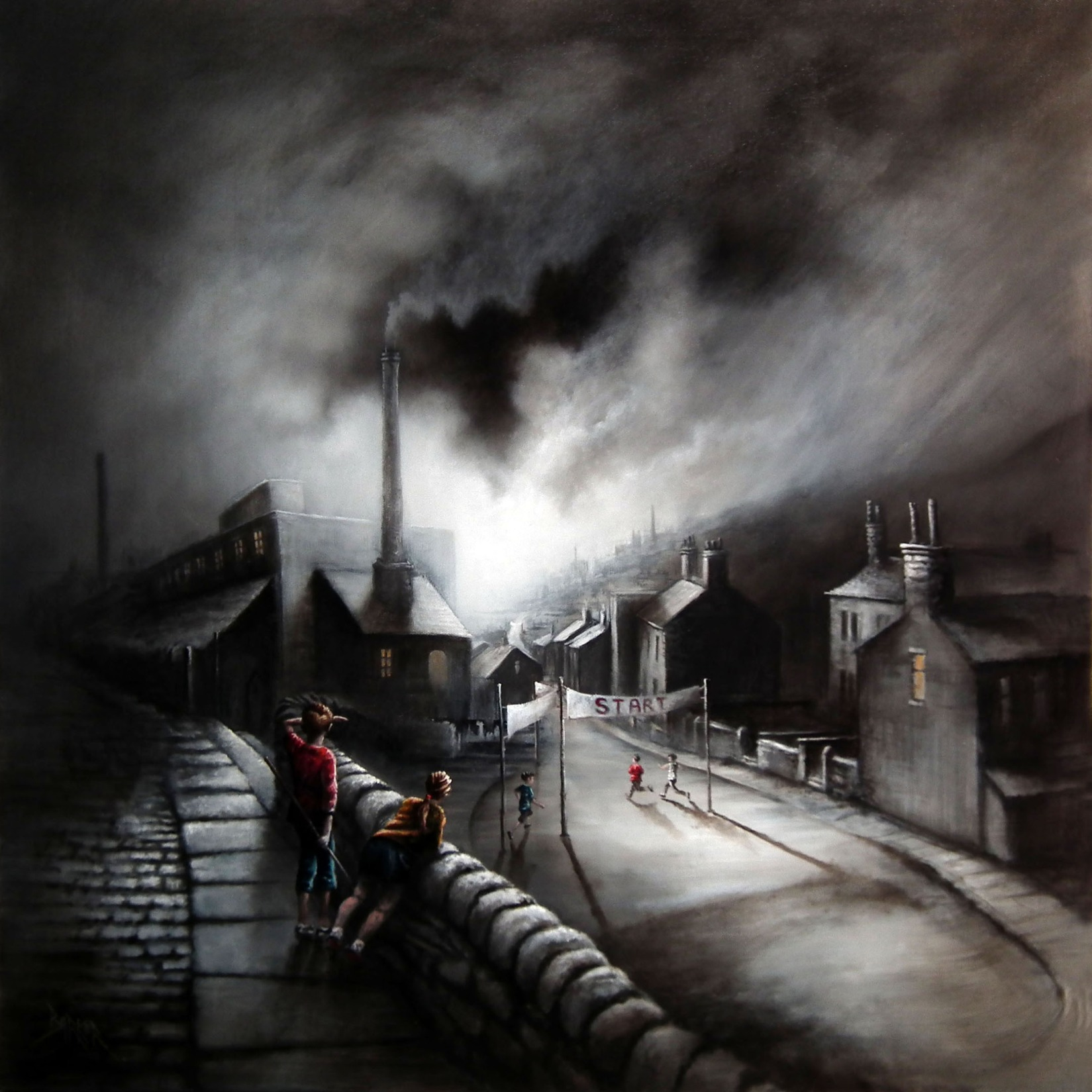 Run of the Mill by Bob Barker, Northern | Nostalgic | Children | Industrial | Landscape