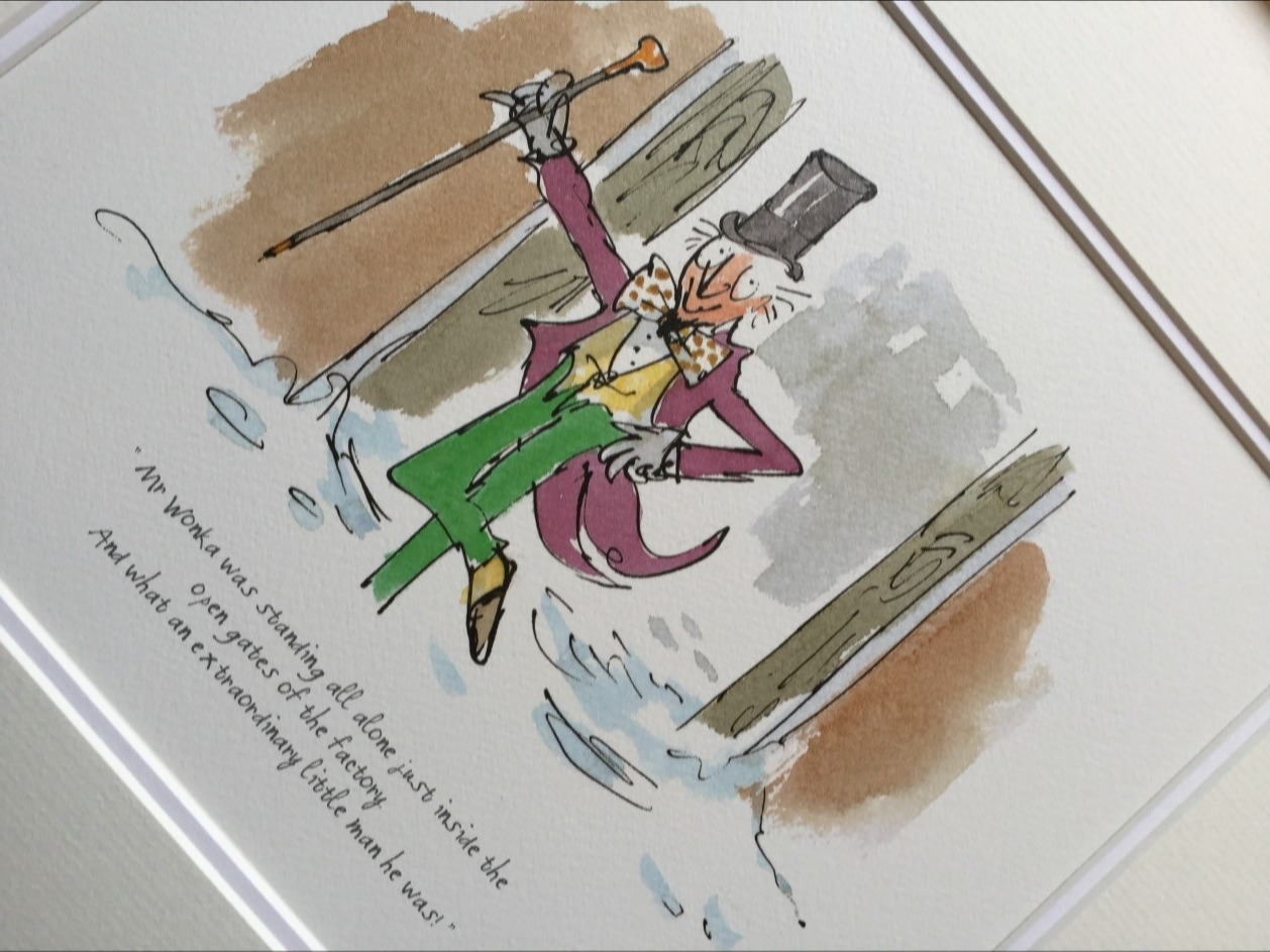 An extraordinary man he was by Quentin Blake, Children | Nostalgic | Illustrative | Willy | Wonka | Chocolate | Charlie | Factory