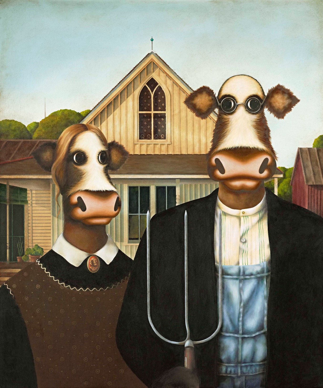 Amoorican Gothic by Caroline Shotton, Cow | Humour