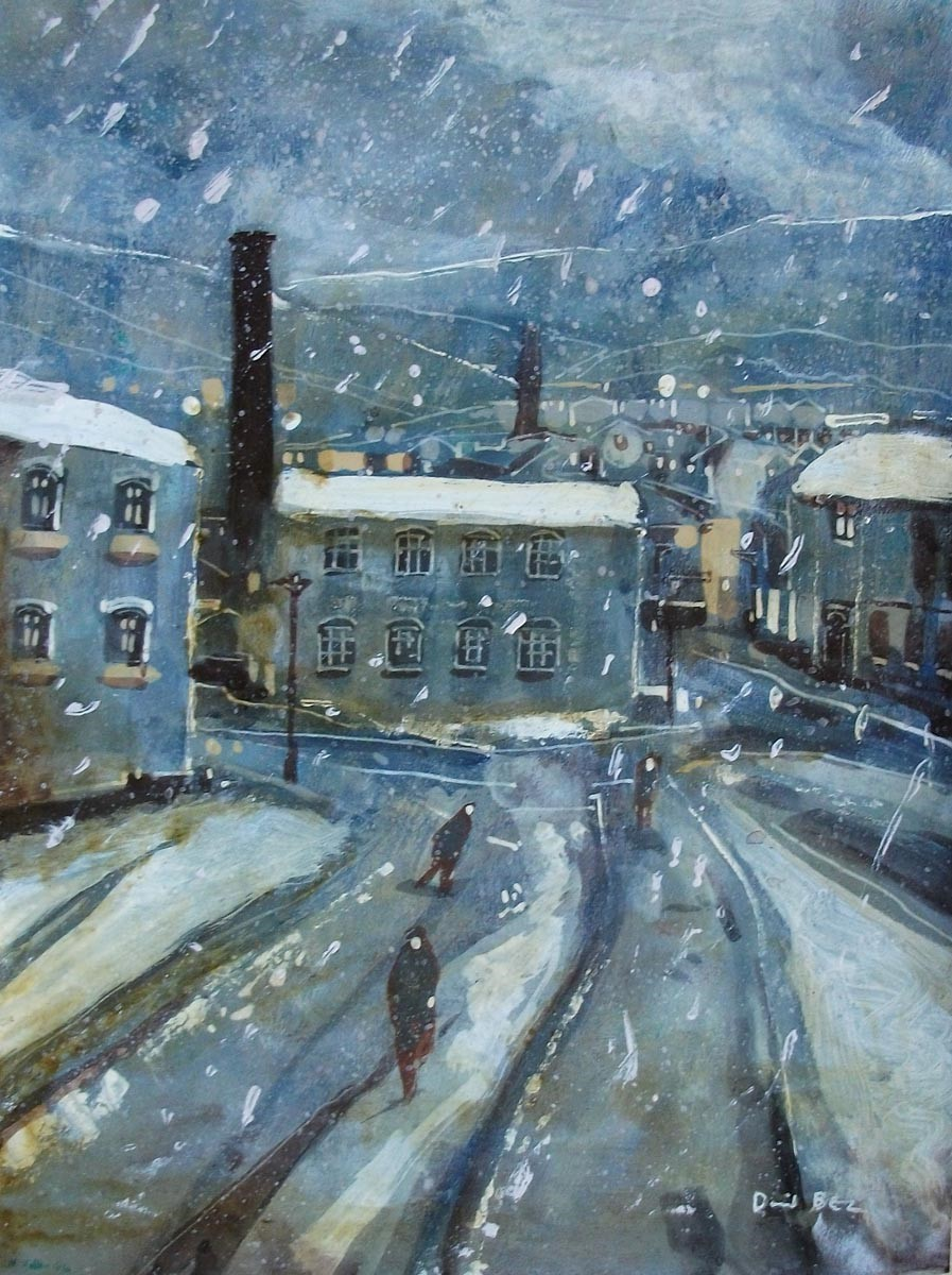 Trudging Home by David Bez, Northern | Nostalgic | Snow | Industrial