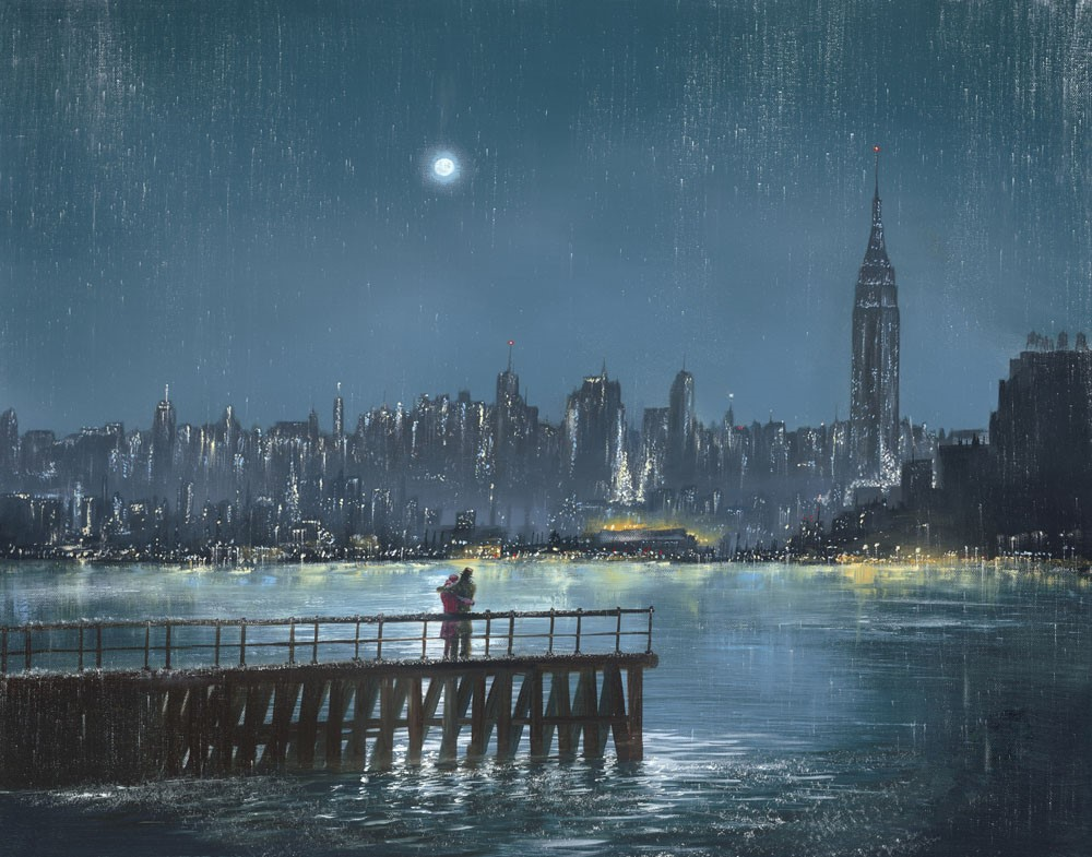 Blue Moon by Jeff Rowland, Romance | Couple | Dance | Figurative | Landscape | Sea