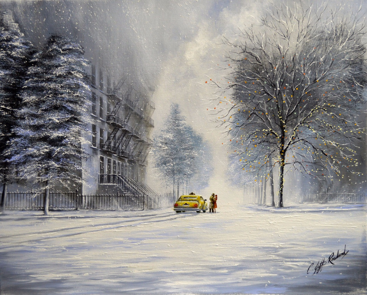 On That Cold Christmas Eve by Jeff Rowland, Love | Romance | Couple | New York | Nostalgic | Water