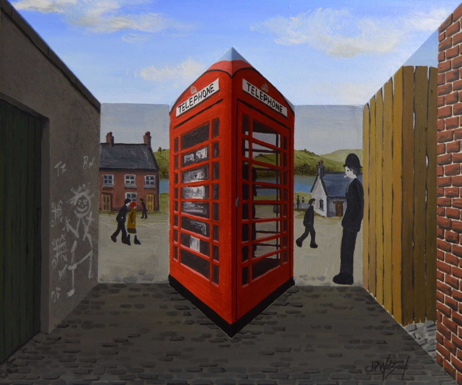 Waiting for the Telephone by John D Wilson, Lowry | 3D | Naive | Industrial | Landscape