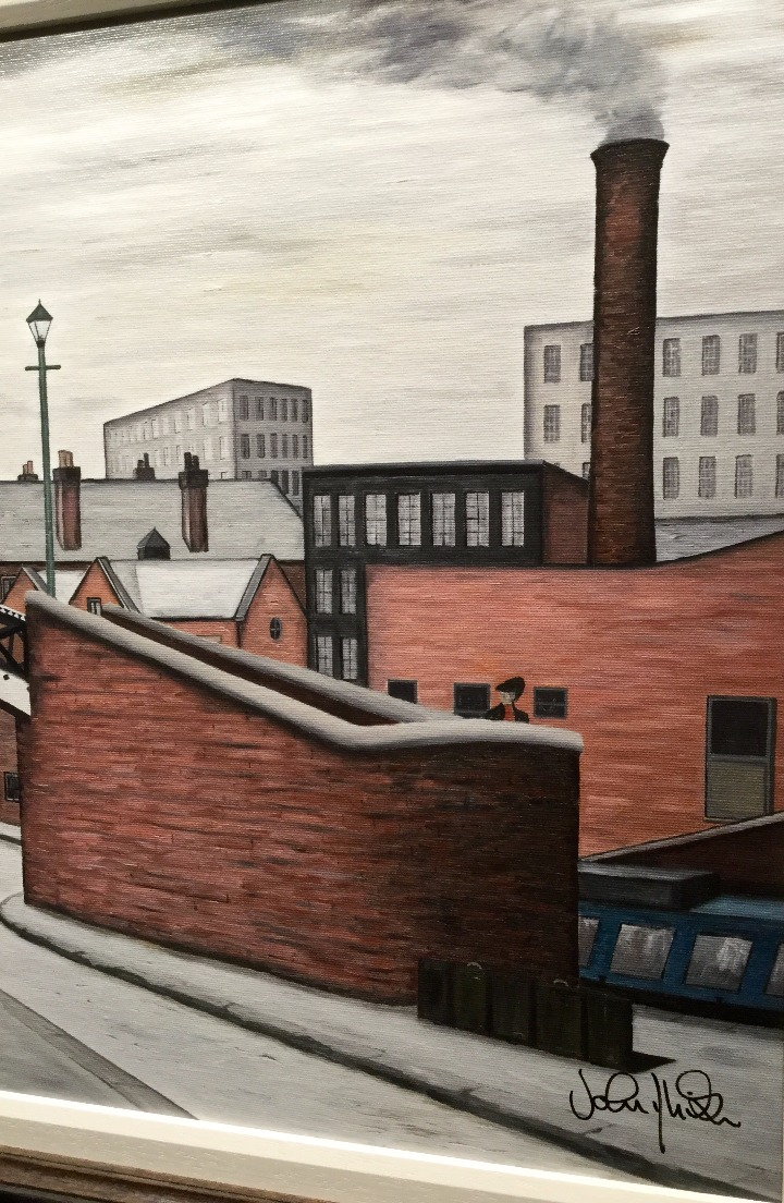 In his Footsteps by John D Wilson, Water | Nostalgic | Lowry | Industrial | Landscape