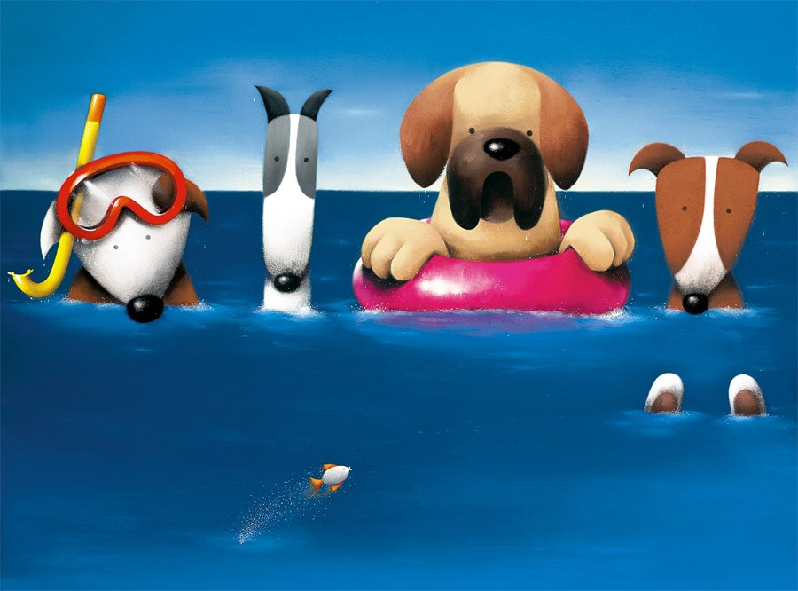Doggie Paddle by Doug Hyde, Animals | Dog | Water | Sea | Humour
