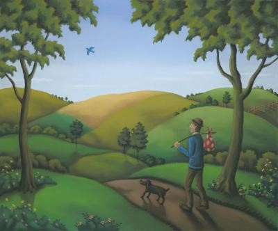 Bluebird of Happiness by Paul Horton, Landscape | Dog