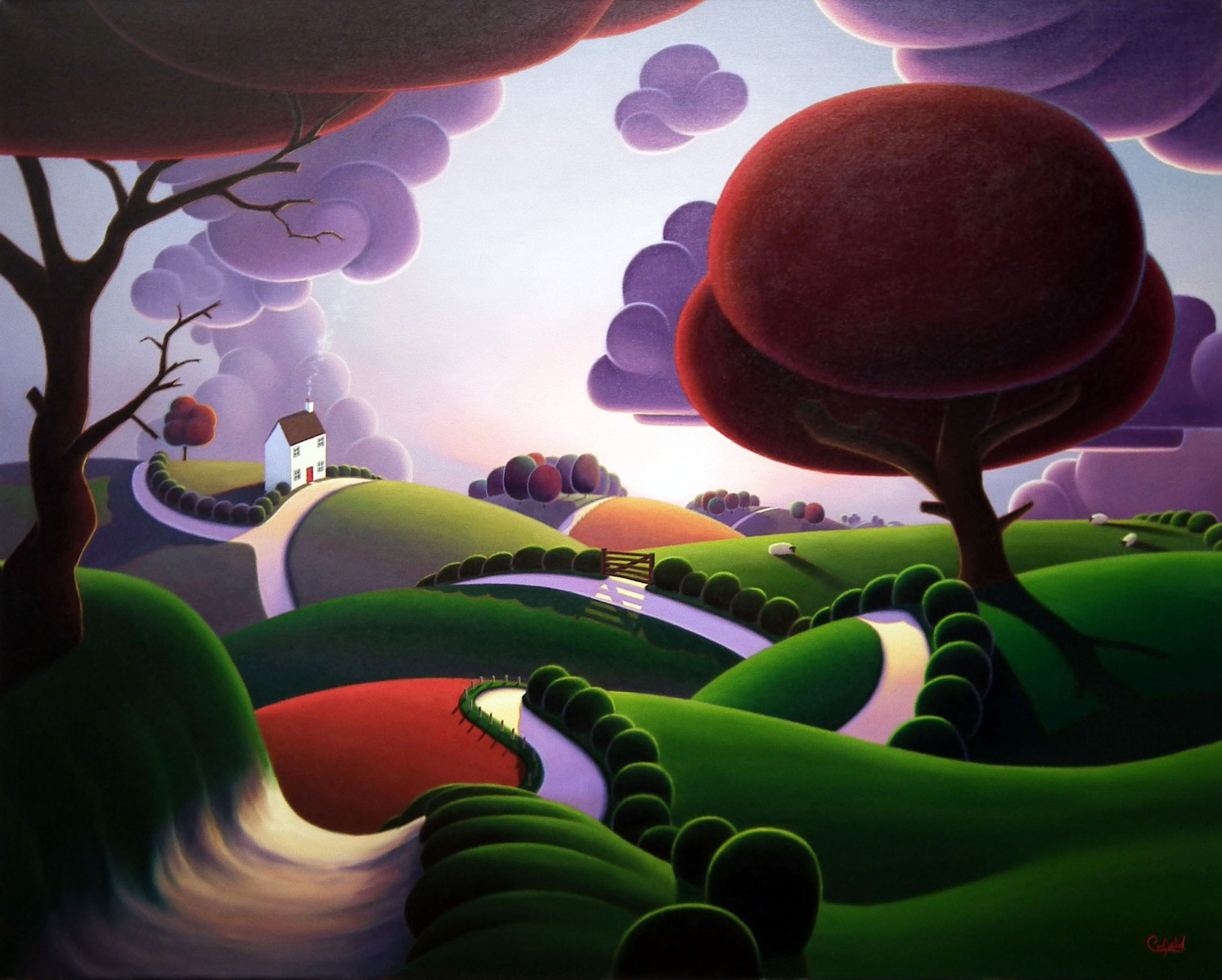 Over the Hills and Far Away by Paul Corfield, Landscape | Naive