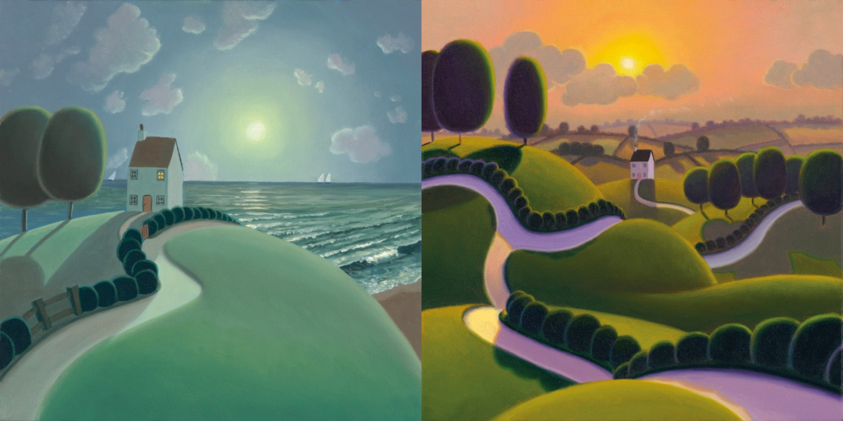 Rare Matching Pair by Paul Corfield, Rare | Customer Sale | Landscape | Naive