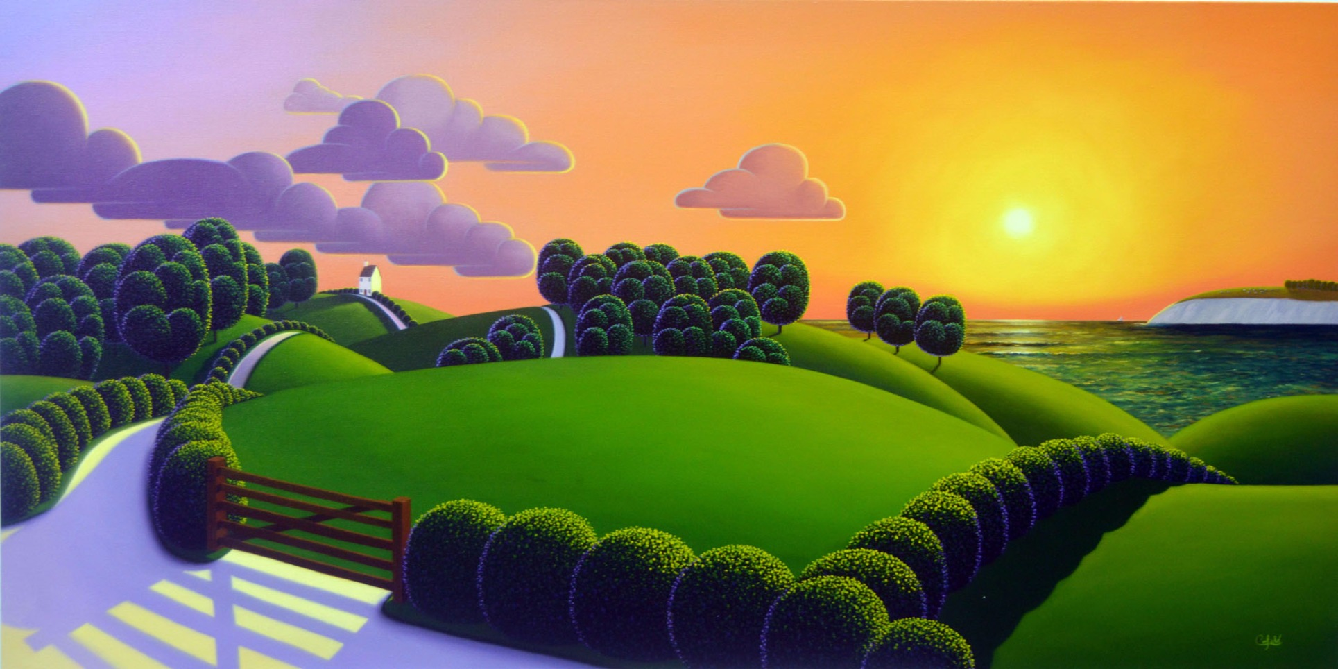 Closing of the Day by Paul Corfield, Naive | Landscape