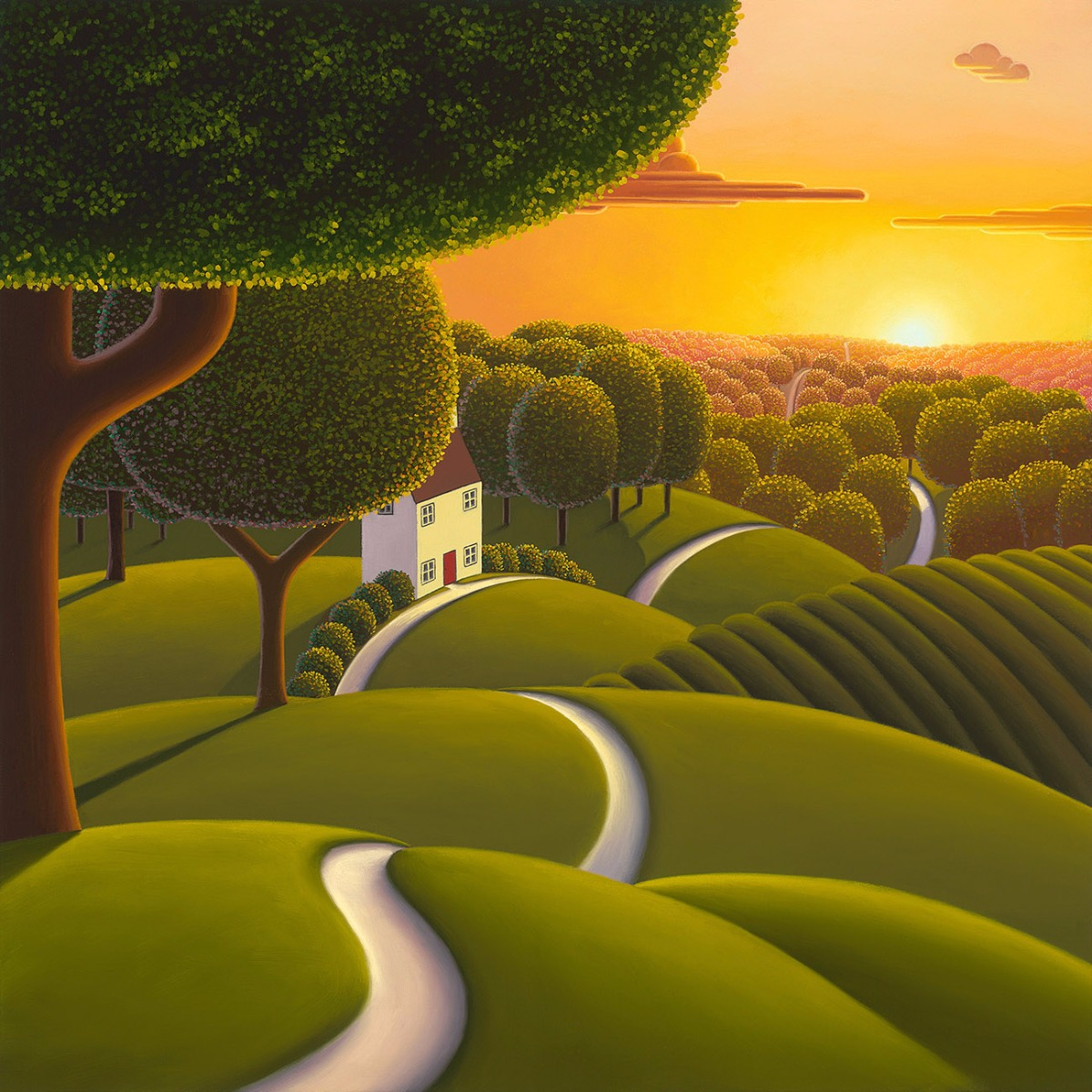 Sunlight Over the Tree Tops by Paul Corfield, Landscape