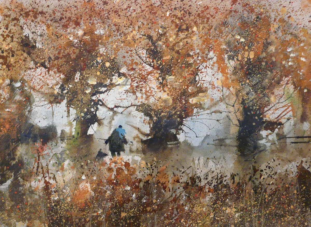 October Flurry by Sue Howells, Dog | Landscape | Flowers