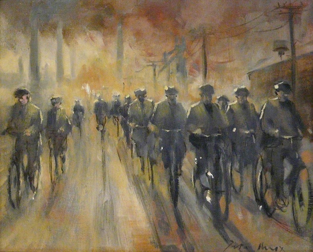 Steelworks Way by Peter Knox, Nostalgic | Northern | Industrial | Bicycle | Figurative